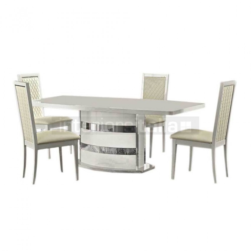 High Gloss Dining Set   Roma   Clearance Sale With Regard To White High Gloss Dining Chairs (Image 10 of 25)