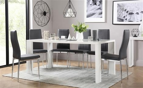 High Gloss Dining Table & Chairs – High Gloss Dining Sets Inside Cream Lacquer Dining Tables (Image 15 of 25)