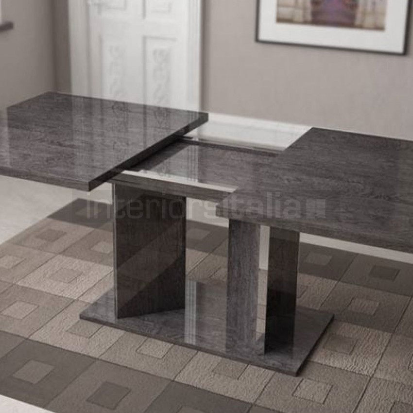 High Gloss Dining Table | Extending | Sarah Grey Birch | Sale Inside Extendable Dining Sets (Image 15 of 25)
