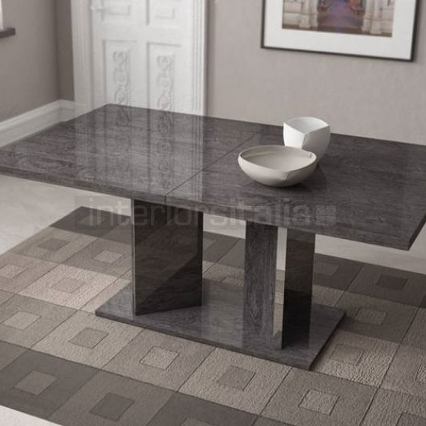 High Gloss Dining Table | Extending | Sarah Grey Birch | Sale With Regard To Extending Marble Dining Tables (Image 14 of 25)