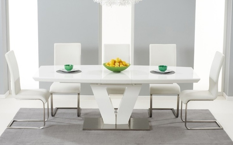 High Gloss Dining Table Sets | Great Furniture Trading Company | The Pertaining To White Extendable Dining Tables And Chairs (Image 15 of 25)