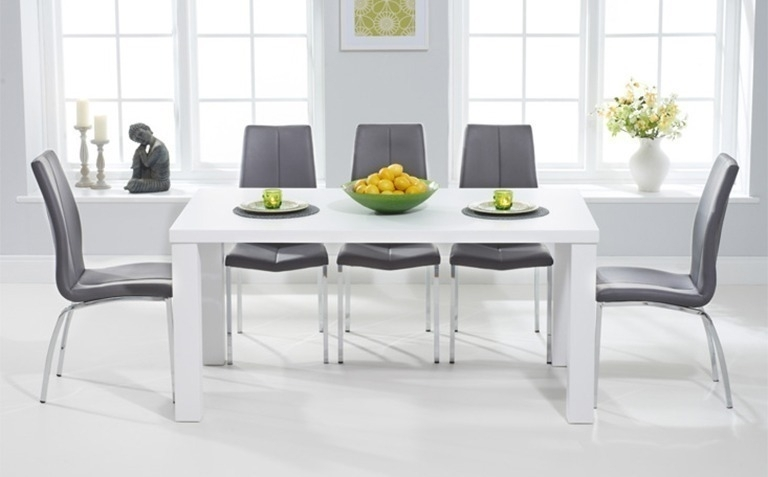 High Gloss Dining Table Sets | Great Furniture Trading Company | The Throughout White Dining Tables And Chairs (Image 11 of 25)