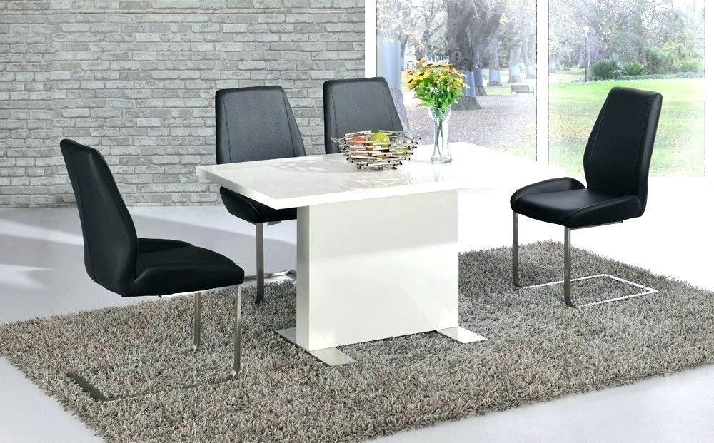 High Gloss Dining Table White And Chairs Black Set Leather Glossy Inside Black High Gloss Dining Tables And Chairs (Image 17 of 25)