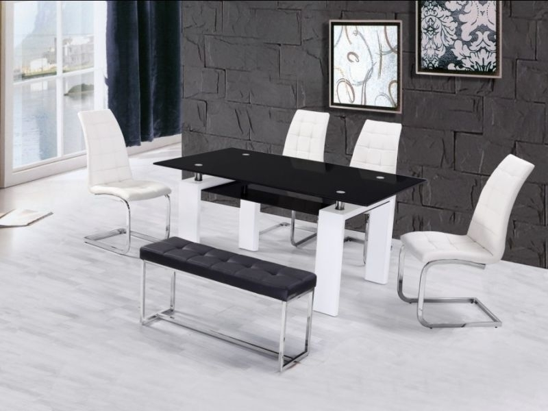 High Gloss Glass Dining Table With 4 Chairs & Bench – Homegenies With Black Glass Dining Tables And 4 Chairs (Image 18 of 25)