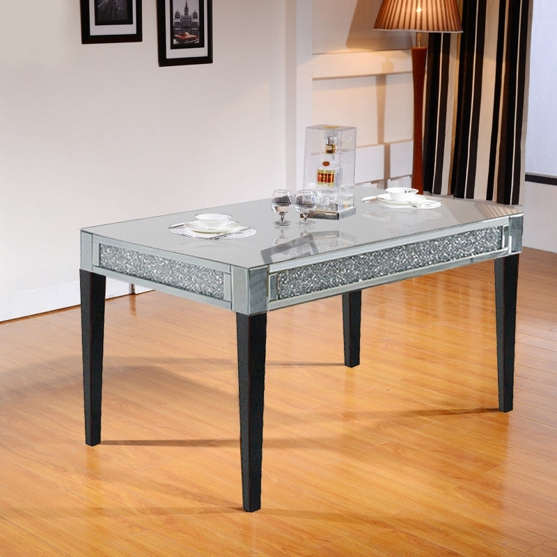 High Gloss Silver Glass Dining Table Black Wood Legs For Home Throughout Glass Dining Tables With Wooden Legs (Image 15 of 25)