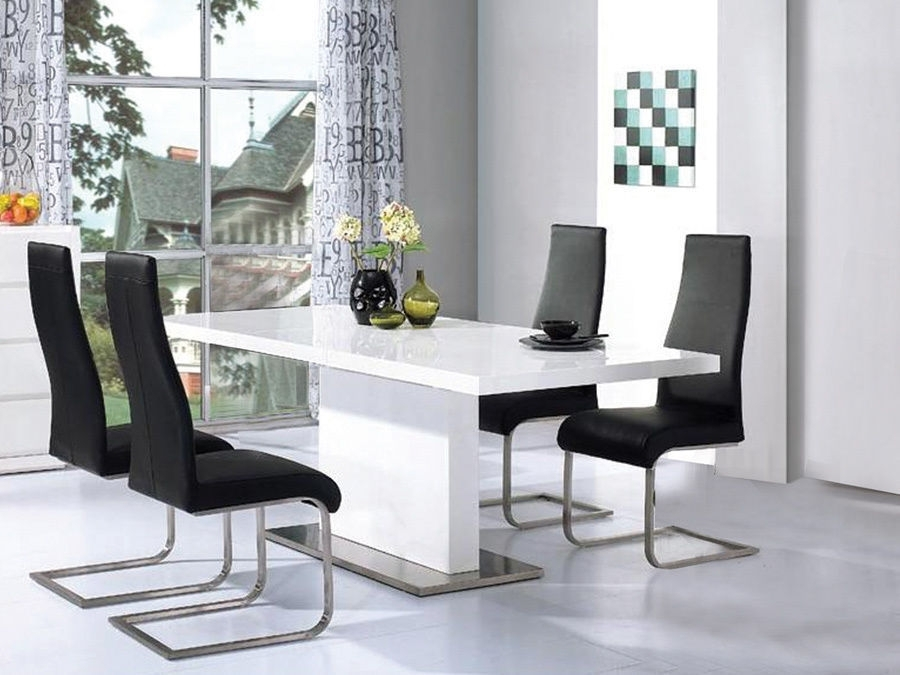 High Gloss White Dining Table With 4 Chairs Set – Homegenies Throughout Gloss White Dining Tables (Image 15 of 25)