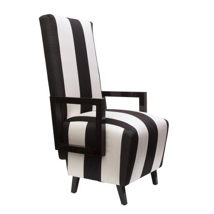 Highback Dining Chairs In Black & White Striped Silk, Pair – Sasha In High Back Dining Chairs (View 20 of 25)