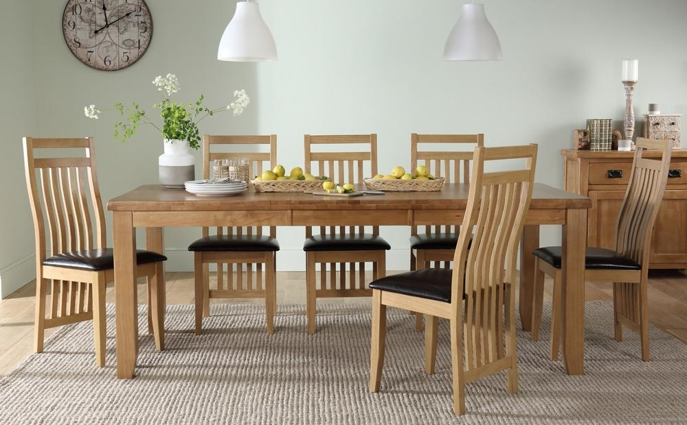 Highbury Oak Extending Dining Table With 4 Bali Chairs (Brown Seat Regarding Bali Dining Tables (View 23 of 25)