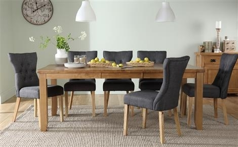 Highbury Oak Extending Dining Table With 8 Bali Chairs (Ivory Seat Inside Extending Dining Tables And 8 Chairs (Image 11 of 25)
