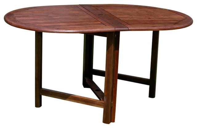 Highland Acacia Miami Oval Gate Leg Folding Dining Table,brown With Oval Folding Dining Tables (Image 15 of 25)
