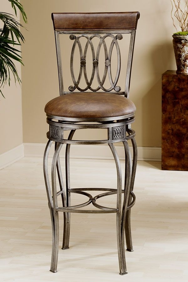Hillsdale - Faux Leather Upholstered Wrought Iron Swivel Counter throughout Laurent 7 Piece Counter Sets With Upholstered Counterstools
