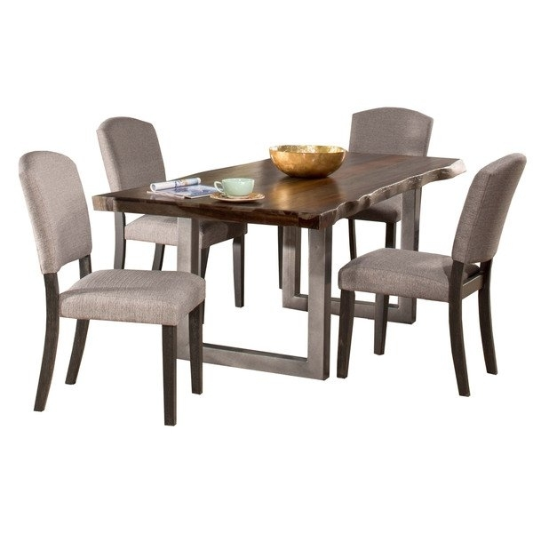 Hillsdale Furniture Emerson Grey Sheesham 5 Piece Rectangular Dining Intended For Caden 5 Piece Round Dining Sets (Image 19 of 25)