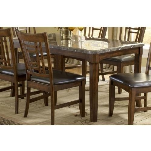 Hillsdale Patterson Rectangle Marble Top Dining Table – Dark Oak Inside Patterson 6 Piece Dining Sets (Image 9 of 25)