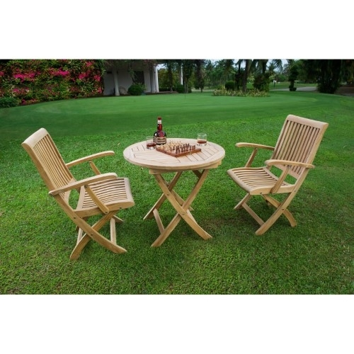Hiteak Furniture Valencia 3-Piece Outdoor Bistro Set, Silver in Valencia 3 Piece Counter Sets With Bench