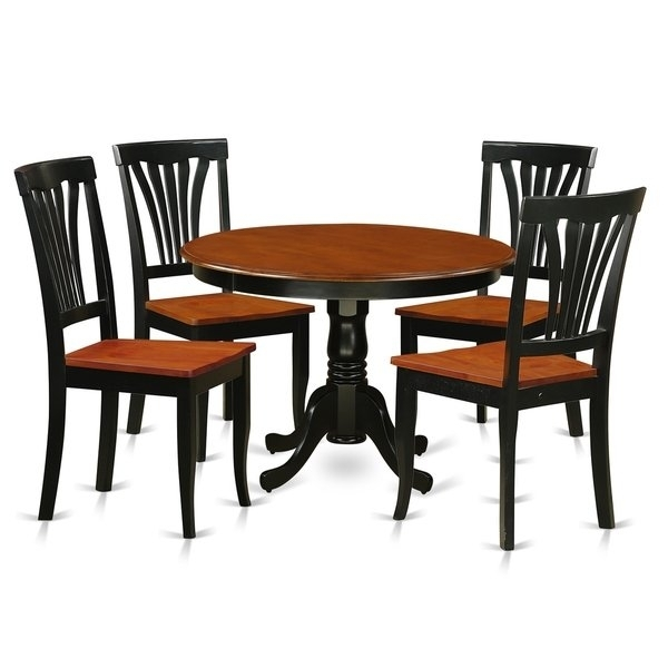 Hlav5 W 5 Pc Table Set With A Dinette Table And 4 Dining Chairs With Caden 5 Piece Round Dining Sets With Upholstered Side Chairs (View 18 of 25)