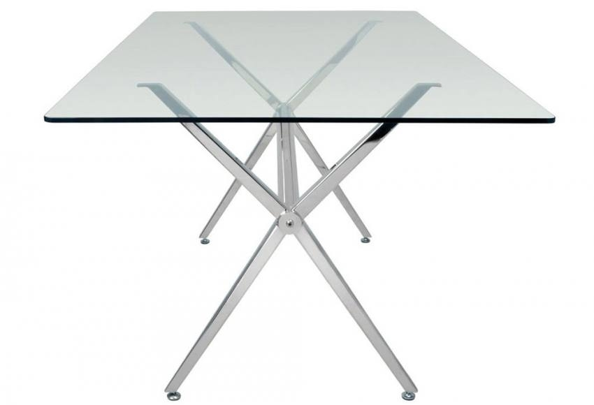 Hnd – Milano Dining Tables – Brushed Steel Finished Frame – Clear Or Regarding Brushed Steel Dining Tables (Image 12 of 25)