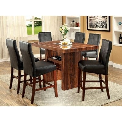 Hokku Designs Carroll 7 Piece Counter Height Pub Set | Pub Sets Inside Rocco 7 Piece Extension Dining Sets (Image 10 of 25)