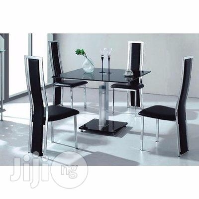 Homcy Glass Dining Table With 4 Chairs In Lagos State – Furniture For Cheap Glass Dining Tables And 4 Chairs (View 14 of 25)