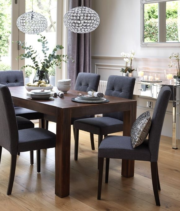 Home Dining Inspiration Ideas. Dining Room With Dark Wood Dining Regarding Jaxon Grey 5 Piece Round Extension Dining Sets With Upholstered Chairs (Photo 8 of 25)
