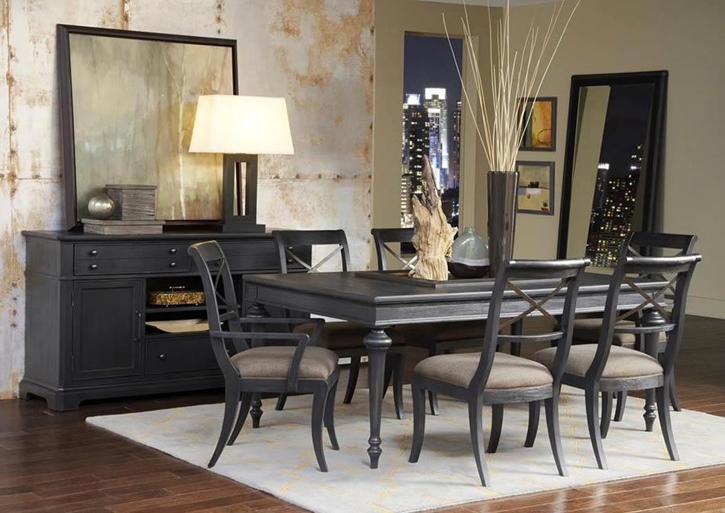 "Home Furniture - Montgomery, Al Vintage Tempo 72"" Black Extension for Jaxon 5 Piece Extension Round Dining Sets With Wood Chairs"