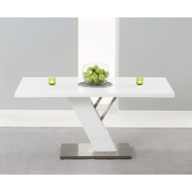 Home Furniture Trading Portland 160Cm White High Gloss Dining Table Intended For White High Gloss Dining Tables (Image 14 of 25)