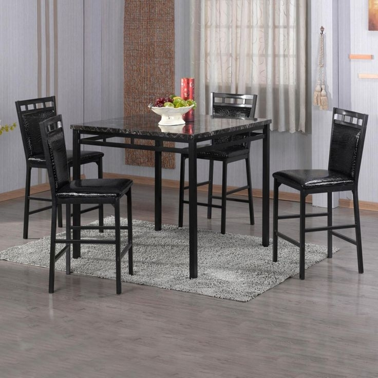 Home Source Industries 5 Piece Counter Height Dining Table Set In Inside Valencia 5 Piece Round Dining Sets With Uph Seat Side Chairs (Image 15 of 25)