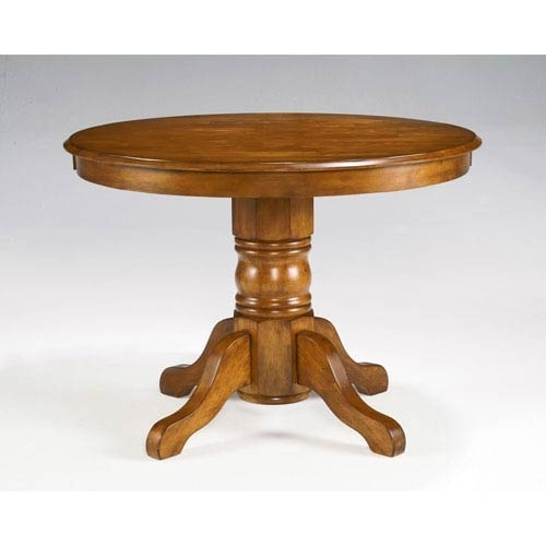 Home Styles Furniture Cottage Oak Round Pedestal Dining Table 5179 Inside Circular Oak Dining Tables (Image 8 of 25)