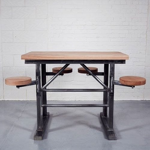 Homebarn Industrial Tall Ship's Bar Table In 2018 | Beach House Regarding Dining Tables With Attached Stools (Image 13 of 25)
