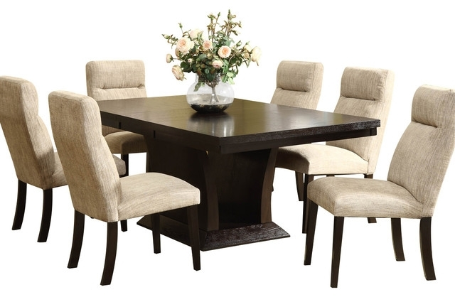 Homelegance Avery 7 Piece Pedestal Dining Room Set In Espresso In Walden 9 Piece Extension Dining Sets (Image 10 of 25)