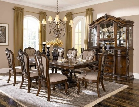 Homelegance Bonaventure Park 9Pc Cherry Rectangular Dining Table Set Within Rectangular Dining Tables Sets (Image 16 of 25)