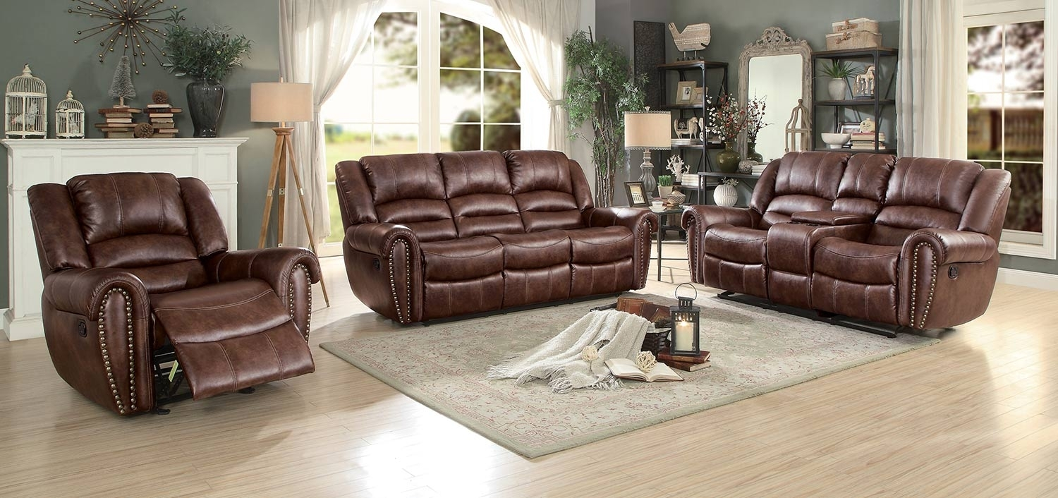 Homelegance Center Hill Reclining Sectional Set – Dark Brown 9668Nsd Intended For Clyde Saddle 3 Piece Power Reclining Sectionals With Power Headrest & Usb (Image 12 of 25)
