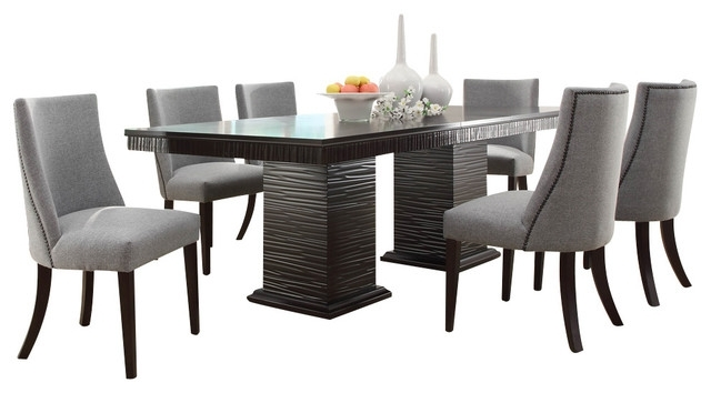 Homelegance Chicago 7 Piece Pedestal Dining Room Set In Deep In Dining Sets (View 14 of 25)