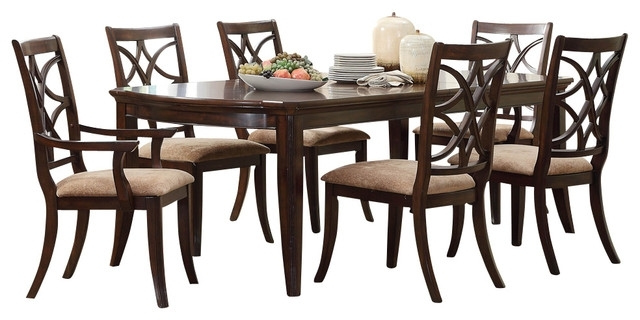 Homelegance Keegan 7 Piece Dining Room Set, Brown Cherry With Walden 7 Piece Extension Dining Sets (Image 14 of 25)