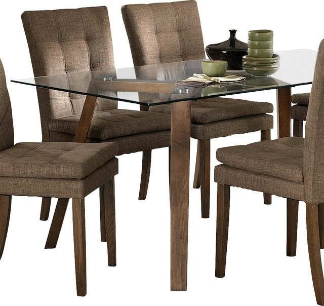 Homelegance Maitland Glass Top Dining Table With Beech Wood Legs In Glass Dining Tables With Wooden Legs (Image 16 of 25)