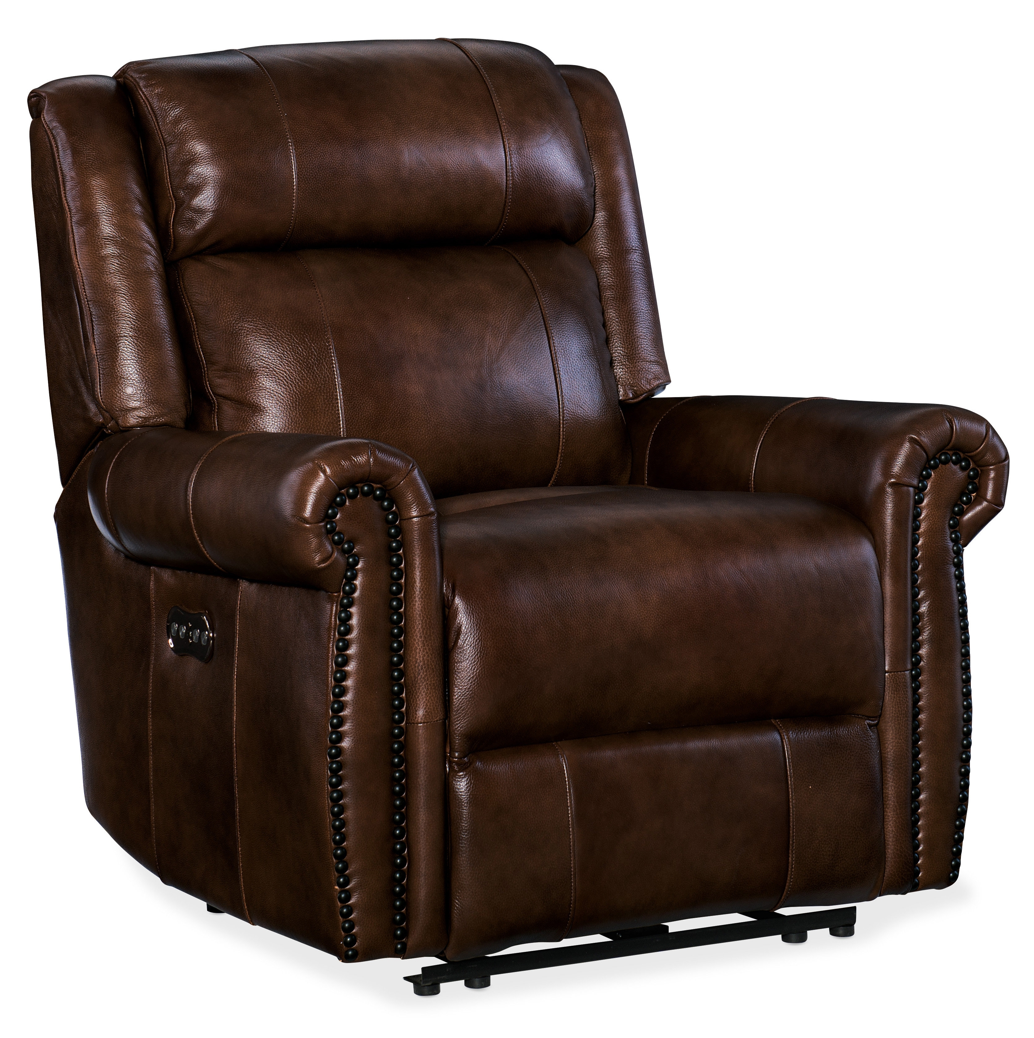 Hooker Furniture Esme Leather Power Recliner With Power Headrest Regarding Clyde Grey Leather 3 Piece Power Reclining Sectionals With Pwr Hdrst & Usb (Image 17 of 25)