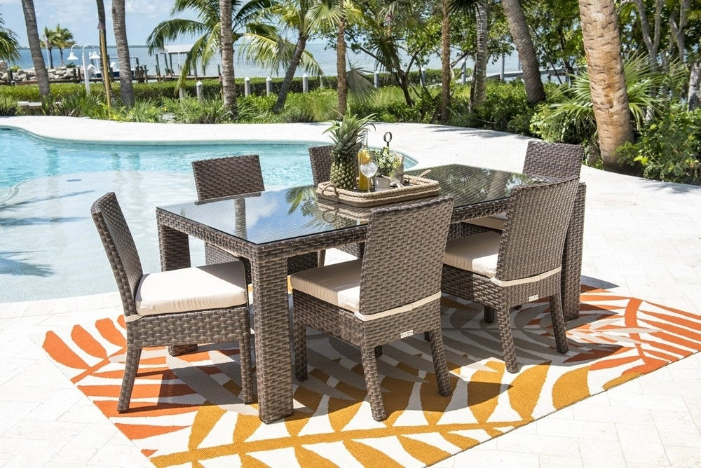 Hospitality Rattan Fiji 7 Piece Wicker Dining Set – Modern Wicker Intended For Gavin 7 Piece Dining Sets With Clint Side Chairs (View 12 of 25)
