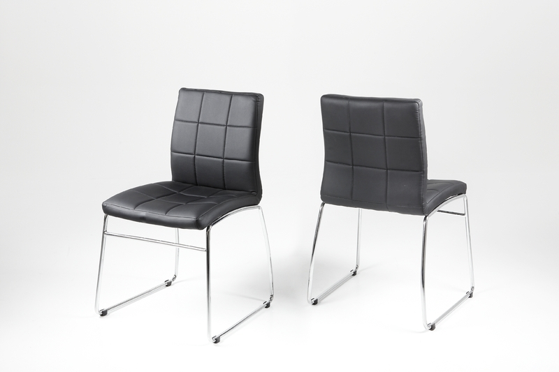Hot Dining Chair – Black Leather Look With Chrome Legs – Homestreet Throughout Chrome Dining Chairs (Image 12 of 25)
