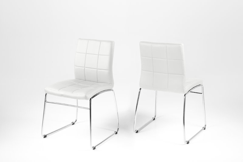 Hot Dining Chair – White Leather Look With Chrome Legs – Homestreet With Regard To White Leather Dining Chairs (Image 7 of 25)