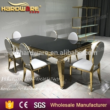 Hotel Gold Stainless Steel Mirror Glass Top Wedding Dining Table in Mirror Glass Dining Tables