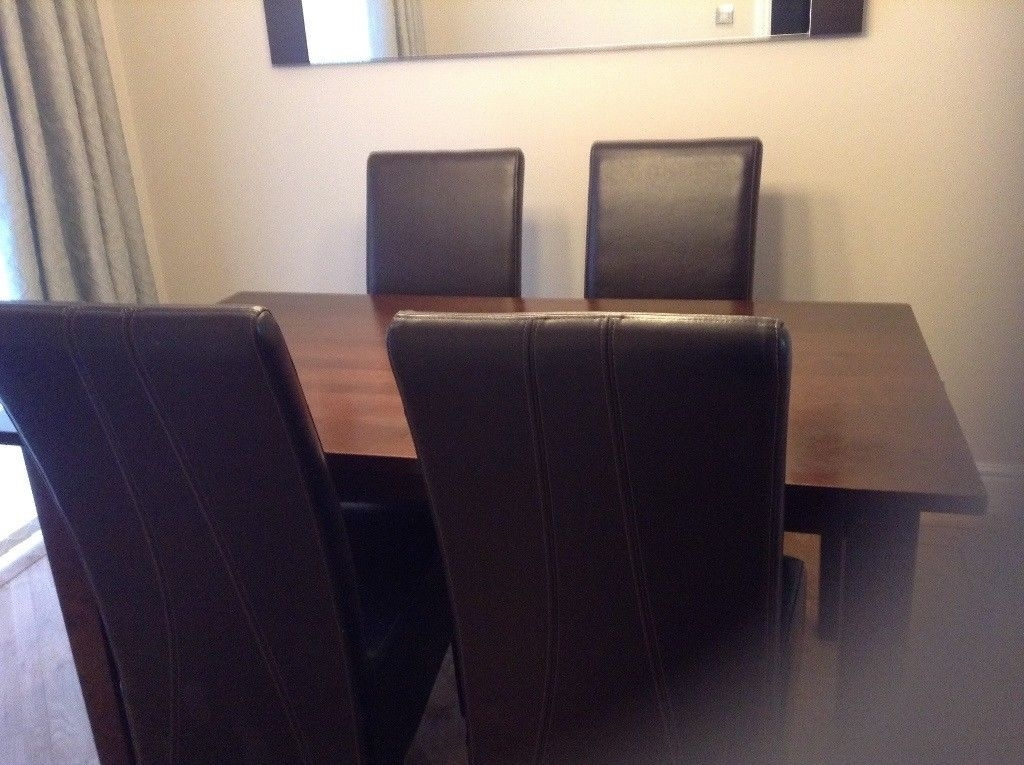 House Of Fraser Solid Dark Wood Dining Table With 4 Leather Chairs throughout Solid Dark Wood Dining Tables