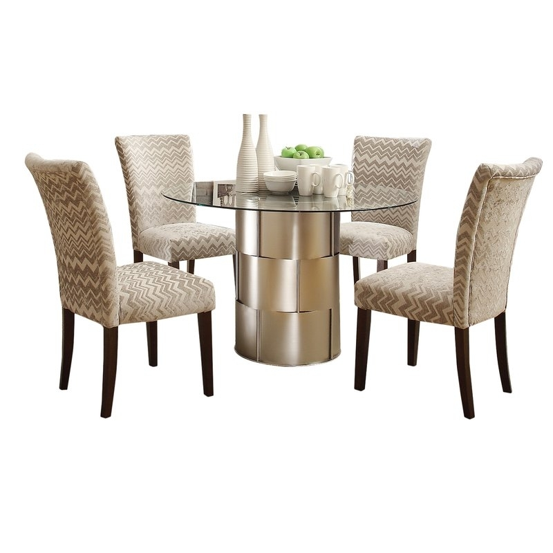 House Of Hampton Cliburn 5 Piece Dining Set & Reviews | Wayfair with Valencia 5 Piece Round Dining Sets With Uph Seat Side Chairs