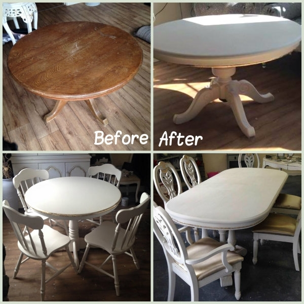 How To Create A Shabby Chic Dining Table – Rainbow Chalk Markers Regarding Candice Ii Round Dining Tables (Image 19 of 25)