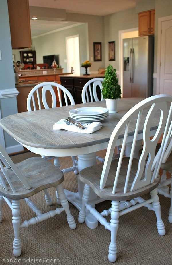 How To Refinish A Table - Sand And Sisal inside Washed Old Oak & Waxed Black Legs Bar Tables
