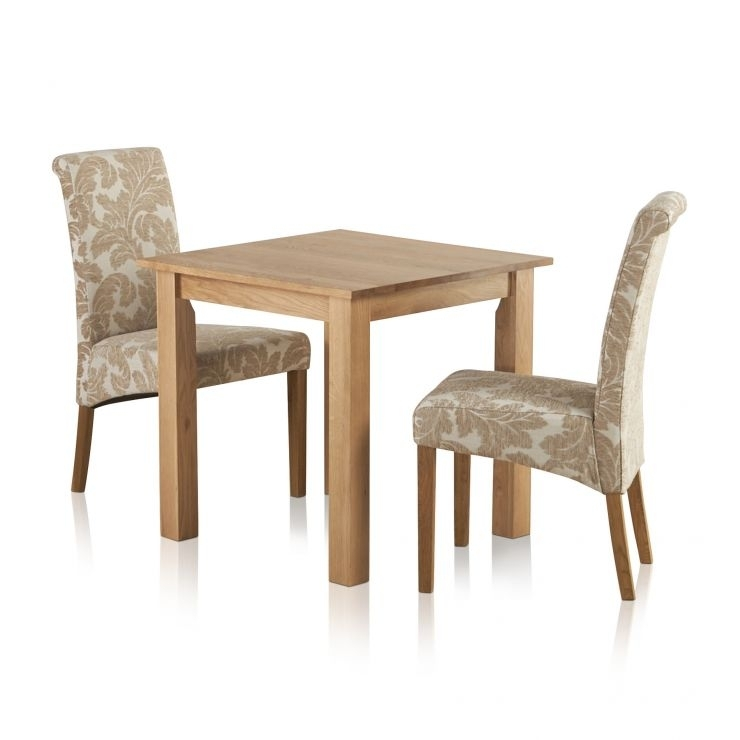 Hudson Dining Set In Solid Oak: Table + 2 Patterned Beige Chairs in Hudson Dining Tables and Chairs