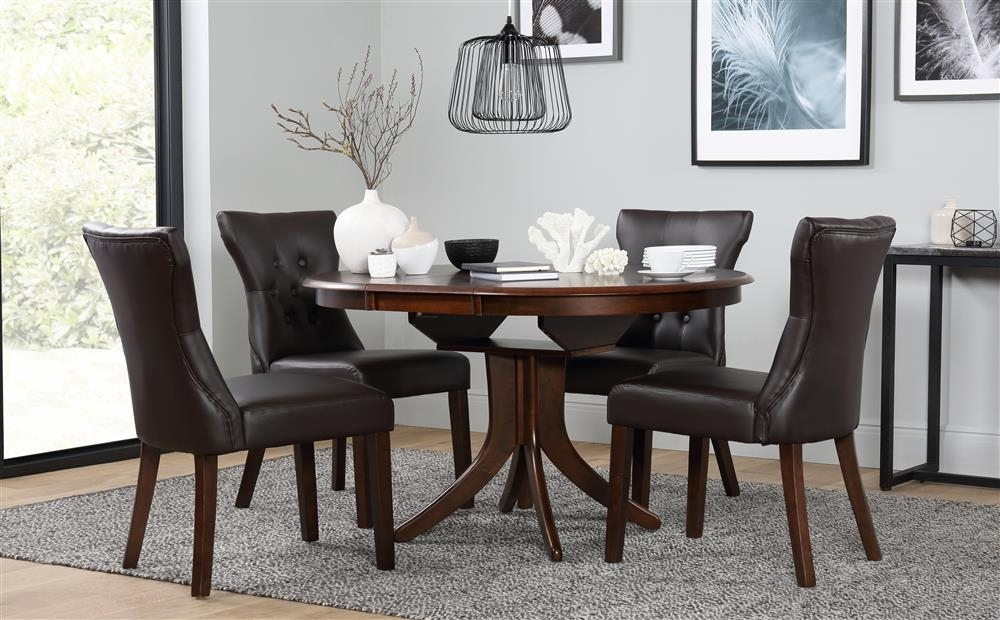 Hudson Round Dark Wood Extending Dining Table And 6 Chairs Set With Regard To Dark Wood Dining Tables And 6 Chairs (Image 18 of 25)