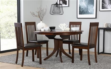 Hudson Round Dark Wood Extending Dining Table With 6 Regent Oatmeal Pertaining To Dark Wood Extending Dining Tables (Image 15 of 25)