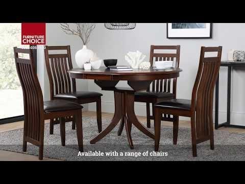 Hudson Round Dark Wood Extending Dining Tablefurniture Choice Regarding Hudson Round Dining Tables (Image 6 of 25)