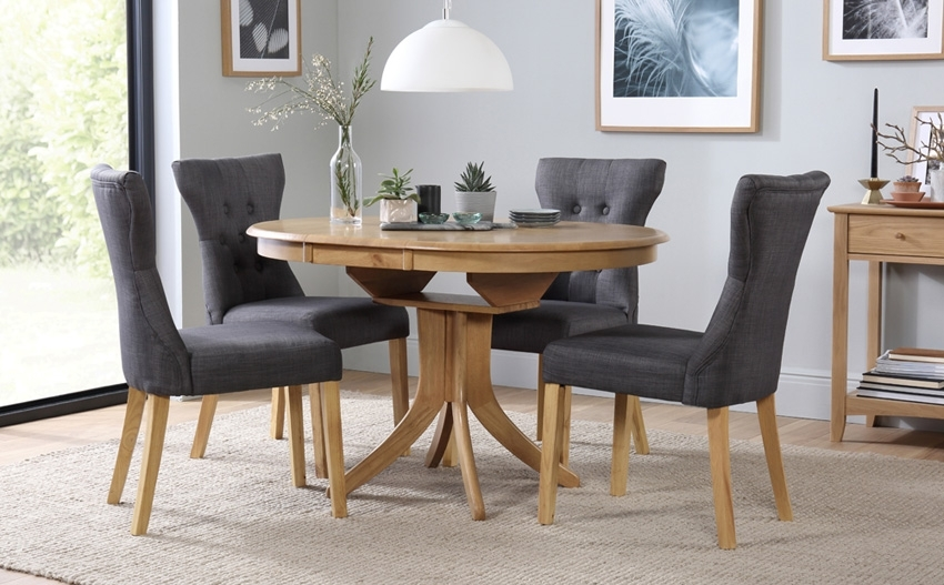 Hudson Round Extending Dining Table 4 Chairs Set (Bewley, Slate In Hudson Round Dining Tables (Image 12 of 25)