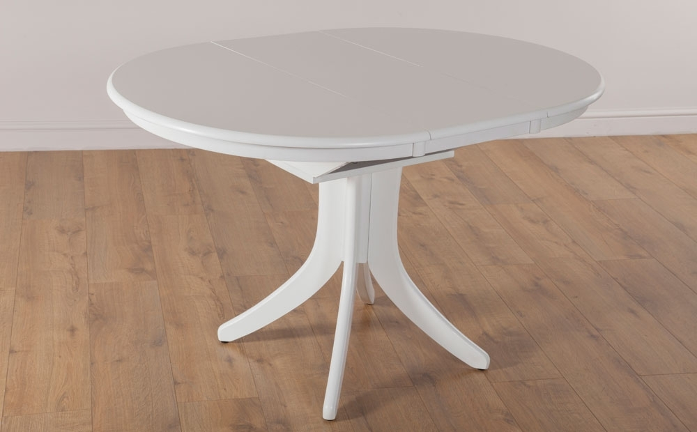 Hudson Round Extending White Dining Room Table Furniture | Ebay inside White Round Extendable Dining Tables
