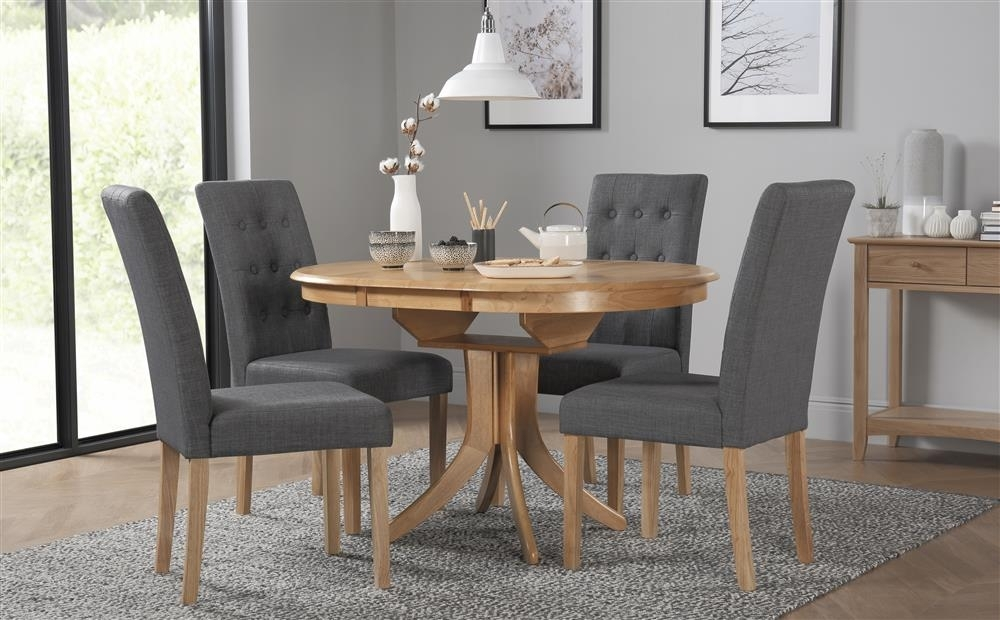 Hudson Round Oak Extending Dining Table With 4 Regent Slate Chairs with regard to Hudson Round Dining Tables